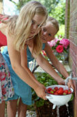 Girls washing strawberries