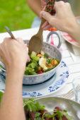 Preparing a summer salad