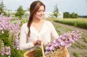 Dame plukt Delphinium bloemen