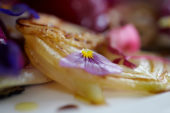 Pansy leaf on fried onion