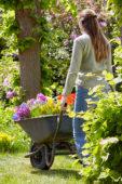 Dame met voorjaarsbloemen