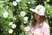 Lady cutting roses