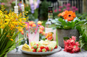 Summer fruit and flowers