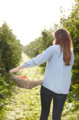 Young lady in apple orchard