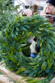Lady with christmas wreath