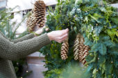 Hanging a christmas wreath