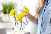 Spring flowers in light bulbs
