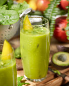 Smoothie mango, avocado, apple, banana and spinach