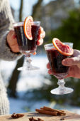 Holding glasses of glühwein