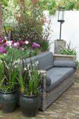 Sofa in spring garden