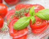 Fresh basil on tomatoes