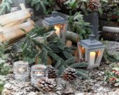 Candles on winter patio