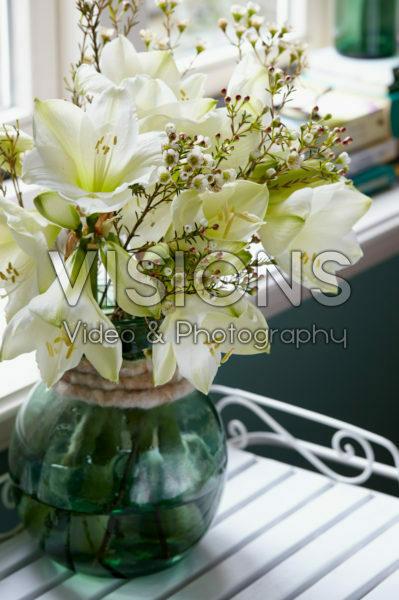Hippeastrum and Chamelaucium bouquet