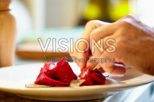Preparing beetroot dish