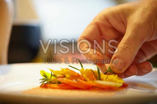 Preparing smoked salmon dish