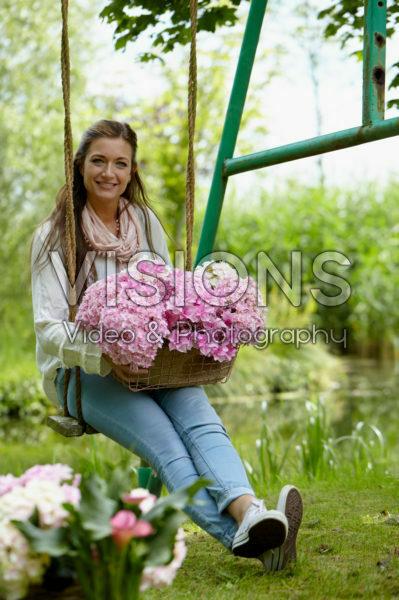 Lady with hydrangea flowers