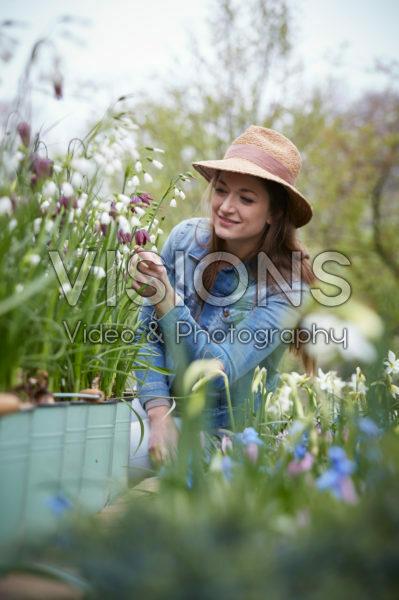 Dame in lentepark