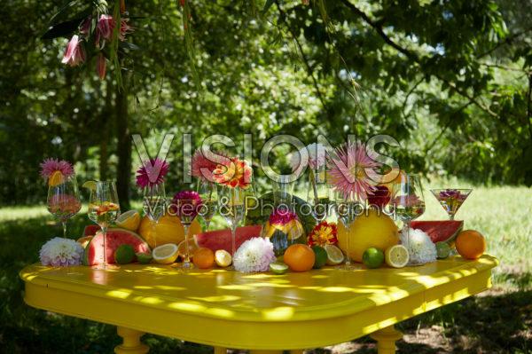 Table with dahlias