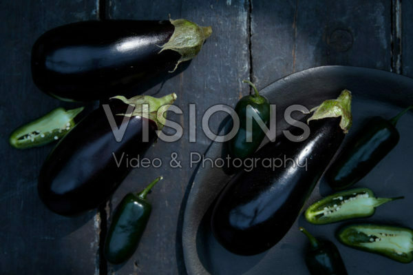 Solanum melongena, Capsicum annuum Jalapeño