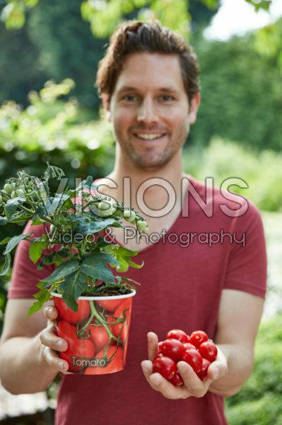 Man holding tomato plant