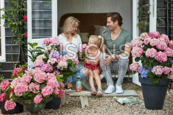 Family enjoying garden