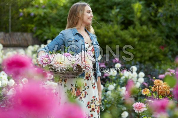 Lady in Dahlia garden