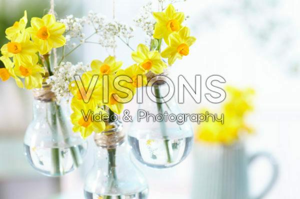 Spring flowers in light bulb