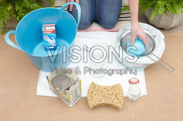 Benodigdheden om pot van cement te maken