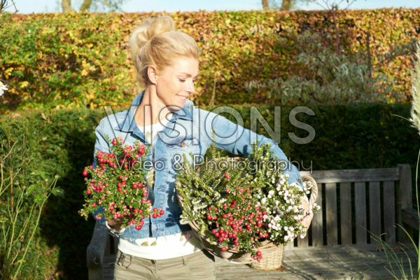 Lady carrying shrubs