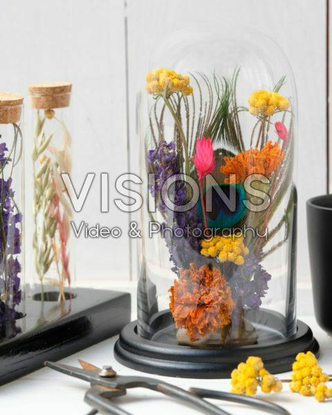 Droogbloemen arrangement in glazen stolp