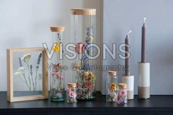 Dried flowers in glass
