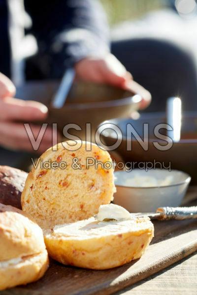Smeared bread