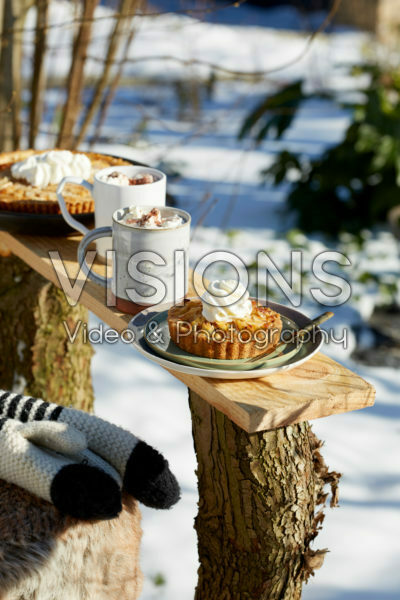 Apple tartlets and hot chocolate