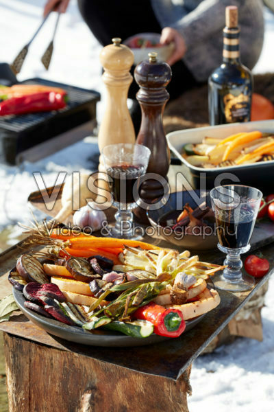 Grilled vegetables on outdoor table