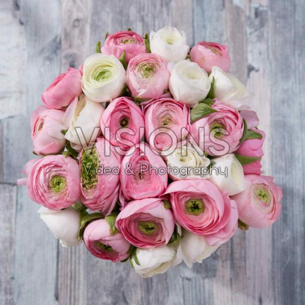 Ranunculus wit en roze mix