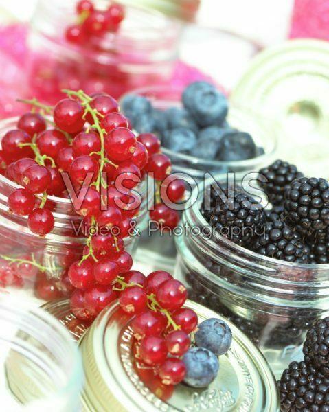 Soft fruit assortment in jars