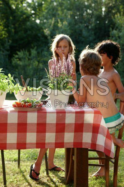 Salads on picnic table