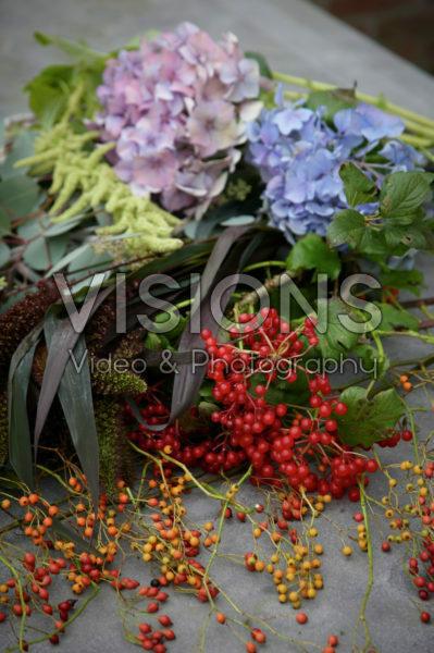 Making autumn wreath